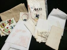Vintage Embroidery Projects Stamped Started Doilies Runner Quilt Top & More