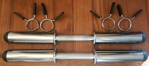 Pair of Olympic Dumbbell Handles with collars - Two Handle Set adjustable