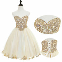 Lace Strapless Prom Party Dress Short Tulle Beaded Formal Evening Party Gown