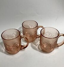 Arcoroc France Pink Clear Glass Cups Mugs Set of 3 Textured Rosaline