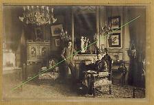 Carte Photo vintage card RPPC salon maison bourgeoise mobilier art pz0203