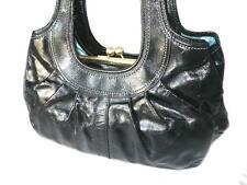 NICE Coach Ergo Blk Patent Calf Leather Lg Satchel Bag w/ Kisslock Compartment