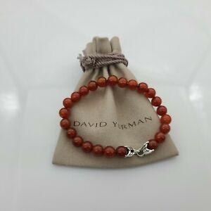 "David Yurman Men's Spiritual Bead Bracelet Carnelian, size 8.5"""