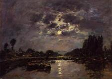 Eugene Boudin The Effect of the Moon Oil Painting repro