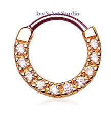 16g 316L Surgical Steel CZ Septum Hinged Clicker Daith Nose Ring Body Piercing R