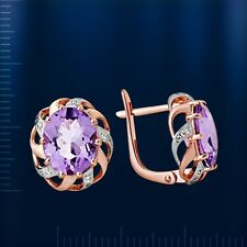 Russian Solid Rose Gold 585 /14ct Amethyst CZs Earrings . Very
