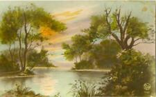 V70.Vintage Postcard.Countryside scene by a river.