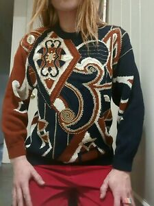 Vintage 1990's Abstract Geometric Pop Art Sweater w/ Gold Accents (XS/S)