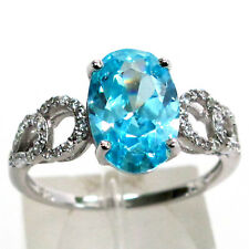 SWEET 3 CT AQUAMARINE OVAL CUT 925 STERLING SILVER RING SIZE 5-10