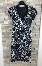 Long Tall Sally Ladies Size 14 White Black Floral V Neck Dress