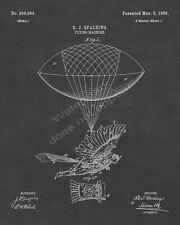 1889 R. J. Spalding Flying Machine Bird Man Patent Print - Sheet 1 - Chalkboard