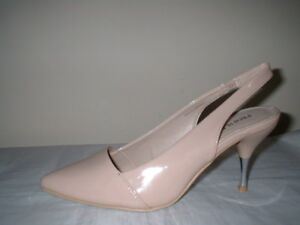 NUDE PATENT POINT SLINGBACK METAL STILETTO HEEL COURT SHOES SIZE 7/40