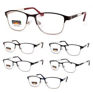 Rectangle Metal Half Rim Spring Hinge 3 Multi-Focal Progressive Reading Glasses