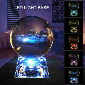 60mm 3D Clear Glass Engrave Solar System Carving Crystal Ball +Base Deccor Gift