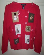 Women's Size M Crystal Kobe Red Ugly Christmas Sweater Button Front Cardigan