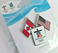 2010 VANCOUVER Olympic Games Official Sponsor Lapel Hat Pin - U.S. Canadian Flag