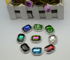 10pcs 18mm x 25mm Color Faceted Rectangle Sew on rhinestone button craft silver