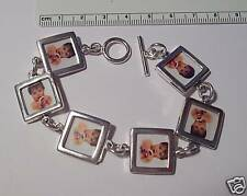 "8.5"" Sterling Silver 7 17mm Links holds 14 Photos Frame Bracelet toggle clasp"