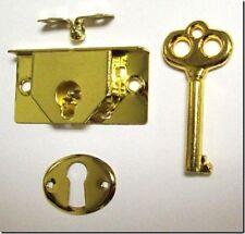 """M-1880 - Brass Pltd Steel Half Mortise Chest Lock 1-3/4""""wide x 7/8""""high x 1/4"""""""
