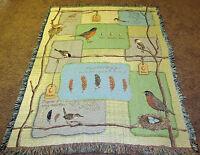 Nesting ~ Birds Tapestry Afghan Throw