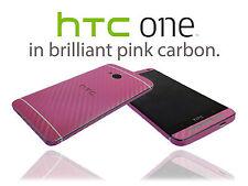 Texturado De Fibra De Carbono Piel Wrap Para Htc One M7 Funda Sticker Protector Funda