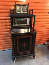 Antique English Victorian Ebonised Mahogany Liquor Cabinet Inlay of Timbers