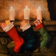 LED Light up Christmas Canvas Pictures 30cm X 40cm Xmas Picture Stockings