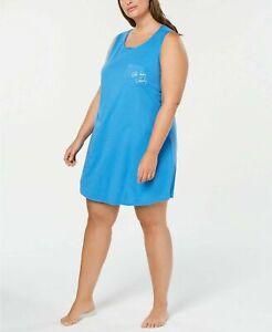 Jenni Plus Size Peekaboo-Back Sleepshirt Blue NEW