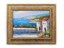 Dipinto Olio su Tela con Cornice - 43x53 cm - Paesaggio Mediterraneo - Quadro