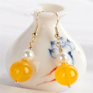 12MM Yellow chalcedony pearl Earring 18KGP Dangle Holiday gifts Party Real