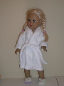 """White Fleece Robe/Slippers 18"""" Doll Clothes American Girl"""