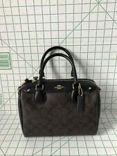 Coach F58312 IMAA8 Mini Bennett Satchel Black Brown Signature Leather Bag