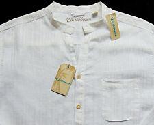 Men's CARIBBEAN White Linen + Open Neck Shirt 3XLT TALL NWT NEW S75WC721 HOT!