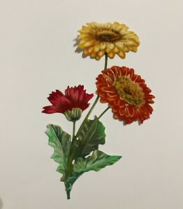 3 Tattered Lace Gerbera Flowers For Card Making , Die Cuts, Easter toppers,