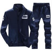 2pcs Men's Casual Sweatshirt Sportswear Tracksuit Baseball Jacket Sweat Suits