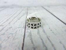 Women's Fashion Ring Size 5 Faux Silver Black Rhinestones Pinky Small Costume