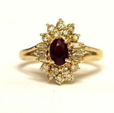 14k yellow gold womens .40ct diamond oval red ruby ring ladies 4g estate vintage