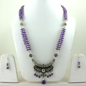 PENDANT NECKLACE EARRINGS NATURAL AMETHYST GEMSTONE BEADS FINE HANDMADE JEWELRY