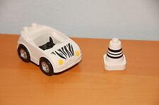 Lego Duplo Zoo Car White w/ Black Zebra Stripes w/ Traffic Cone