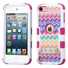 iPod Touch 5th / 6th Gen - PINK CAMO CHEVRON Hard&Soft Rubber Hybrid Armor Case