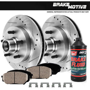 Front Drill And Slot Brake Rotors & Ceramic Pads For 1994 - 1996 Ford F150 2WD