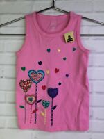 Baby Gap Girls Size 4T Pink Embroidered Hearts Flowers Shirt Blouse Tank Top NEW