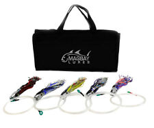 "5 PACK RIGGED TUNA JET HEAD 9"" LURES  MAHI WAHOO DORADO + LURE BAG"
