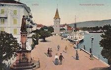AK Lindau gel. 1900 (?) Maxmonument Hafen Schiffe Bodernsee