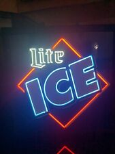 "Vintage Original Lite Ice Neon Light Sign 16""x16"" Beer Bar Decor Lamp Glass"