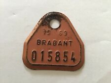 Vintage Metal Paint Belgian Bicycle License Plate 1969 Brabant.