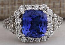 4.74 Carat Natural Tanzanite 14K White Gold Diamond Ring