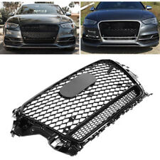 For RS3 Grille Front Hood Henycomb Bumper Grill for A3 S3 2013-2016 Gloss Black