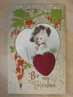 Valentine Victorian Woman & Novelty Plush Heart c1910 Postcard