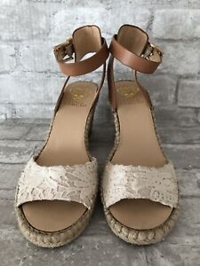 Vince Camuto Tesa Espadrille Wedge Size 9M NWOB Floral Ivory Ankle Strap